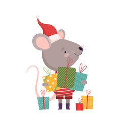 Cute mouse in christmas santa claus costume with vector
