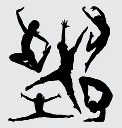 dancing and sport silhouette vector image