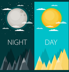 day and night or banners sun and moon vector image