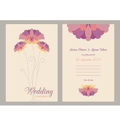 Design template of wedding invitation with flowers vector