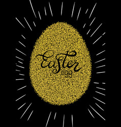 easter lettering on silhouette on the gold glitter vector image