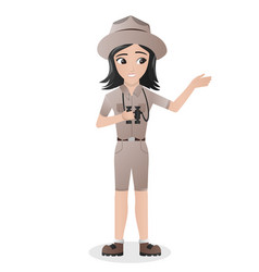 Female zookeeper or zoologist holding binocular vector