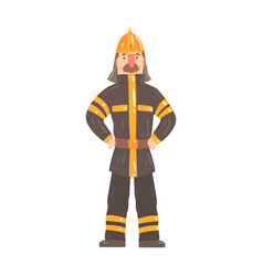 firefighter character in safety helmet and vector image