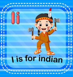 flashcard letter i is for indian vector image