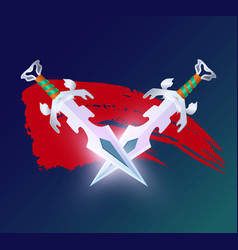Game element with crossed fantasy swords vector