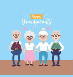 gandparents couples with glasses and hairstyle vector image