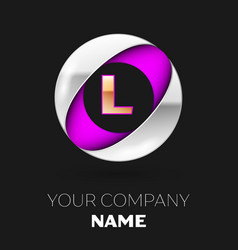 golden letter l logo in the silver-purple circle vector image