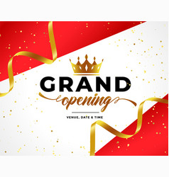grand opening celebration background with golden vector image