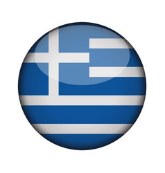greece flag in glossy round button of icon greece vector image