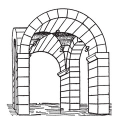 Groin vault cross vault vintage engraving vector