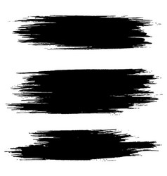 Grunge ink brush strokes freehand black brushes vector
