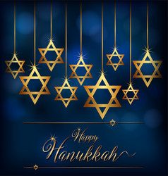 Happy hannukkah with star symbol of jews vector