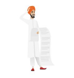 hindu accountant holding a long bill vector image
