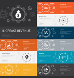 Increase revenue infographic 10 line icons banners vector