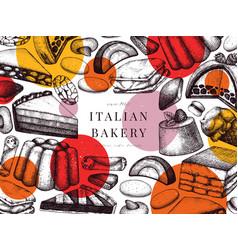 italian bakery banner with trendy geometric vector image