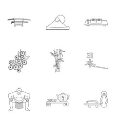 Japan set icons in outline style big collection vector