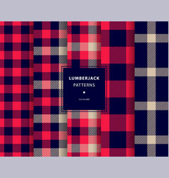 Lumberjack seamless patterns set vector