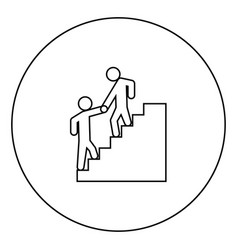 man helping climb other man black icon outline in vector image