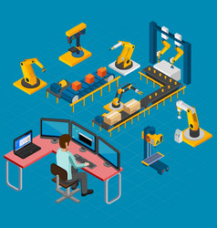 Manufacturing work isometric composition vector