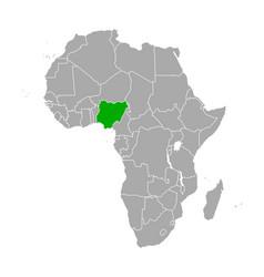 map nigeria in africa vector image