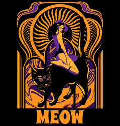 meow hand drawn pretty girl vector image
