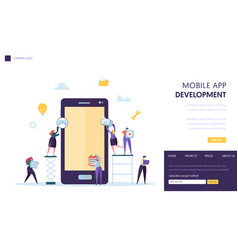 Mobile app development team landing page software vector