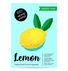 modern healthy food poster with lemon vector image