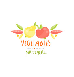 Natural vegetables logo design healthy kids menu vector