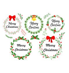 new year greeting card christmas wreath set vector image