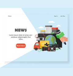 News website landing page design template vector