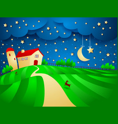 night landscape with farm and starry sky vector image