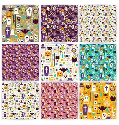Nine Flat Seamless Halloween Party Patterns vector