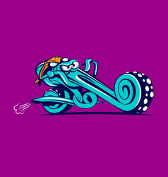 octopus riding chopper bike vector image