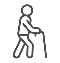 Old man line icon man with walking stick vector