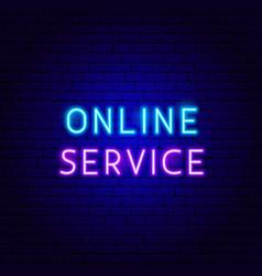 online service neon text vector image