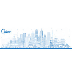 outline china city skyline with blue buildings vector image