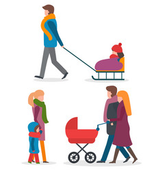 parents with children walking outdoor together vector image
