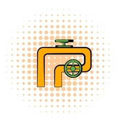 Pipeline with valve and handwheel icon vector image