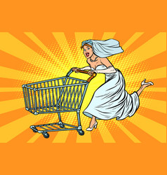 pop art bride runs for wedding shopping vector image