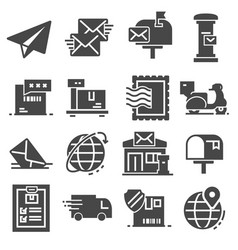 postal service set gray icons vector image