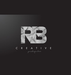 Rb r b letter logo with zebra lines texture vector