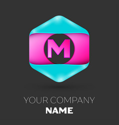 realistic letter m logo in colorful hexagonal vector image