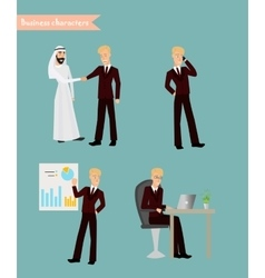 Retro Vintage Successful Businessman Working Set vector