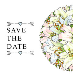save the date wedding invitation template lilies vector image