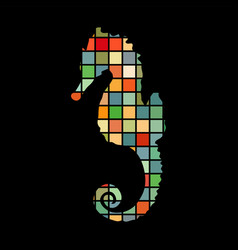 seahorse aquatic mosaic color silhouette animal vector image