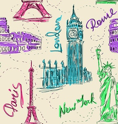 seamless pattern architectural landmarks vector image