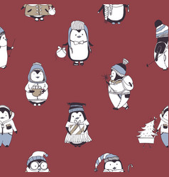 seamless pattern with funny baby penguins wearing vector image