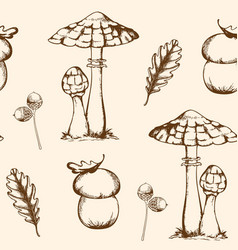 seamless pattern with mushrooms and leaves vector image