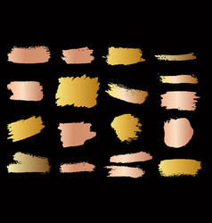 set golden style brush strokes design element vector image