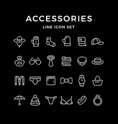 Set line icons of accessories vector